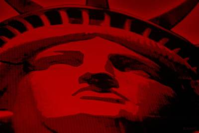 Statue Of Liberty Mixed Media - Statue Of Liberty In Red by Rob Hans