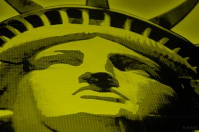 Mixed Media - Statue Of Liberty In Yellow by Rob Hans