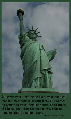 Work Of Art Digital Art - Statue Of Liberty Inscription by National Park Service