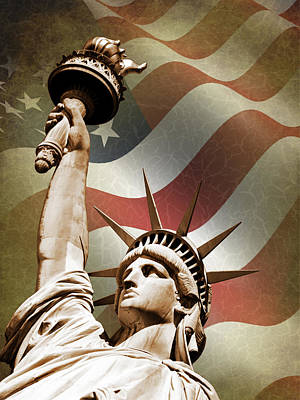 Star Spangled Banner Photograph - Statue Of Liberty by Mark Rogan