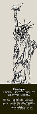 Drawing - Statue Of Liberty New York by Ginette Callaway