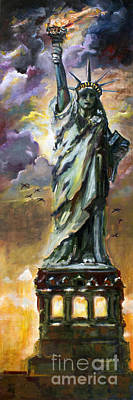 Ellis Island Painting - Statue Of Liberty New York  by Ginette Callaway