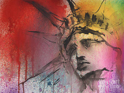 New York City Mixed Media - Statue Of Liberty New York Painting by Svetlana Novikova
