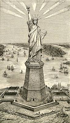 New York Harbor Drawing - Statue Of Liberty, New York by American School