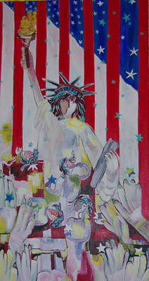 Painting - Statue Of Liberty/ Reaching For Freedom by Sima Amid Wewetzer
