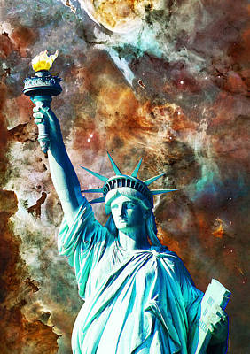 Astronomy Painting - Statue Of Liberty - She Stands by Sharon Cummings