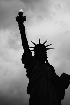 Photograph - Statue Of Liberty Silhouette by Dave Beckerman