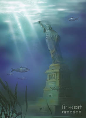 Statue Of Liberty Under Water Art Print by Gwen Shockey