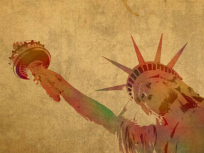 Times Square Mixed Media - Statue Of Liberty Watercolor Portrait No 3 by Design Turnpike