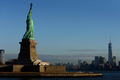 Statue Of Liberty With City Art Print