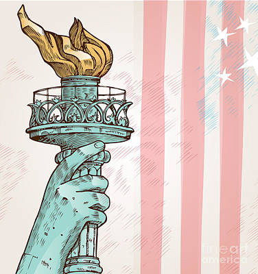 Independence Mixed Media - Statue Of Liberty With Torch by Domenico Condello