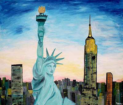 Statue Of Liberty At Night Painting - Statue Of Liberty With View Of New York by M Bleichner