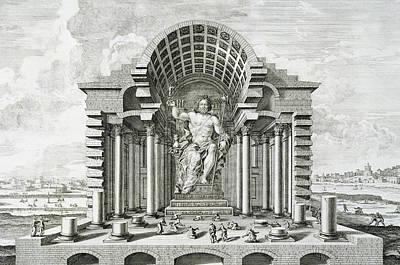 Greek Temple Drawing - Statue Of Olympian Zeus by Johann Bernhard Fischer von Erlach