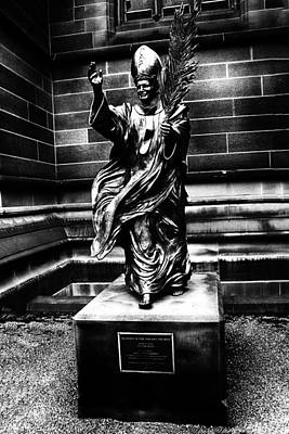 John Paul The Great Photograph - Statue Of Pope John Paul The Great-black And White by Douglas Barnard