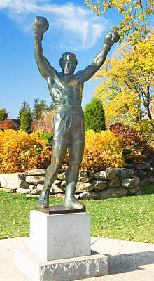 Statue Of Rocky Balboa In A Park Art Print