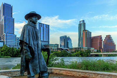 Lady Bird Lake Photograph - Statue Of Stevie Ray Vaughan by Panoramic Images