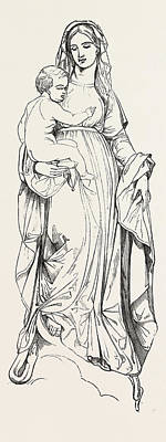 Historic Statue Drawing - Statue Of The Madonna by Louis Jehotte, Brussels, Belgian, 19th Century