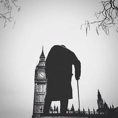 Statue Of Winston Churchill With Big Ben Art Print by Gera Heusen / Eyeem