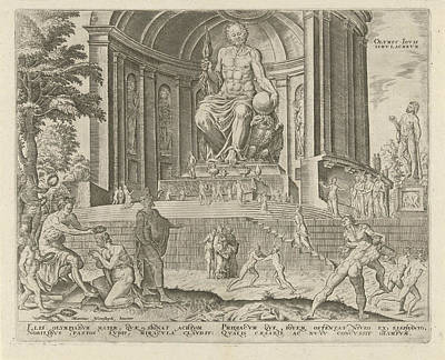 Zeus Drawing - Statue Of Zeus At Olympia, Philips Galle by Philips Galle And Hadrianus Junius