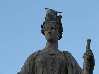Lourve Photograph - Statue On Pont Du Carrousel by Nicholas Nebelsky