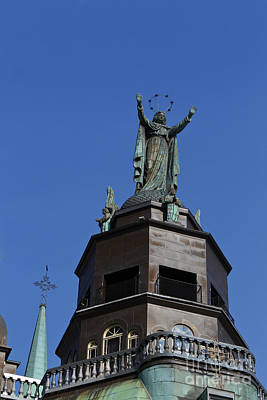 Que Photograph - Statue On Top Of The Notre-dame De Bonsecours Chapel And Marguerite Bourgeoys Museum by Jason O Watson