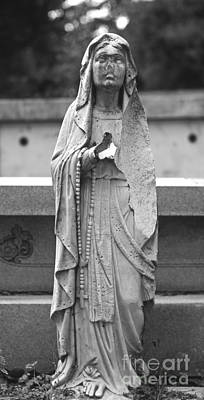 Tomb Photograph - Statue Rosery Mary - Cemetery Sentry by Wayne Nielsen