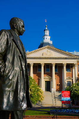 Maryland Photograph - Statue With A State Capitol Building by Panoramic Images