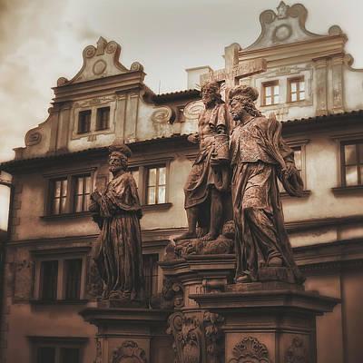 Statues Along The Karl Bridge  Prague Art Print by Robert Schenck