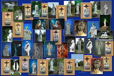 Mother Mary Digital Art - Statues Collage by Thomas Woolworth