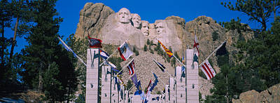 Statues On A Mountain, Mt Rushmore, Mt Art Print