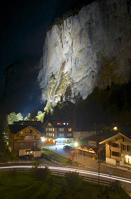 Photograph - Staubbach Falls At Night In Lauterbrunnen Switzerland by Owen Weber