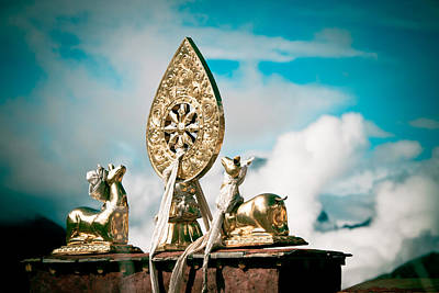 Tibetan Buddhism Photograph - Stautes Of Deer And Golden Dharma Wheel by Raimond Klavins