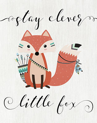 Foxes Painting - Stay Clever Little Fox by Tara Moss