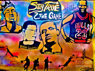 Lakers Painting - Stay True 2 The Game No 1 by Tony B Conscious