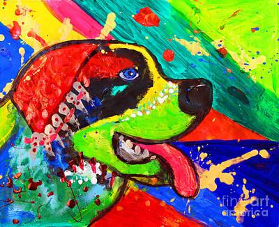 Julia Child Painting - St.bernard Dog Pug Pop Art by Julia Fine Art And Photography