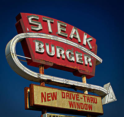 Steak Burger Art Print by Bud Simpson