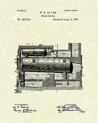 Steam Boiler 1887 Patent Art Art Print by Prior Art Design