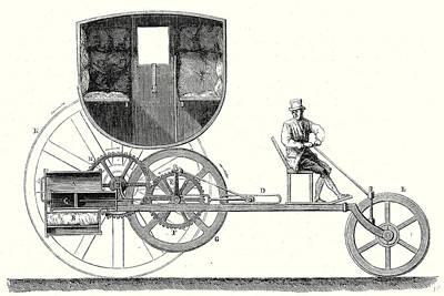 Steam Car Driving On Ordinary Roads Built In 1801 Art Print