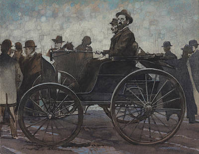 Antique Steam Engine Automobile Art Print