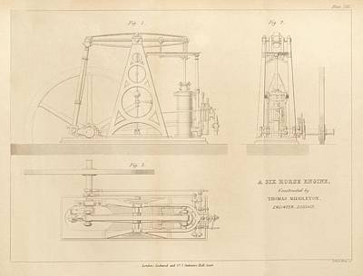 1860s Photograph - Steam Engine Design by King's College London
