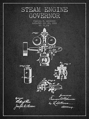 Steam Engine Governor Patent Drawing From 1880- Dark Art Print