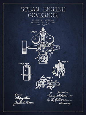 Steam Engine Digital Art - Steam Engine Governor Patent Drawing From 1880- Navy Blue by Aged Pixel