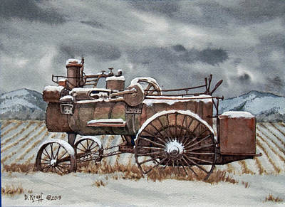 Steam Tractor Painting - Steam Engine In The Snow by Dan Krapf
