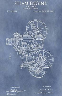 Mechanical Mixed Media - Steam Engine Patent by Dan Sproul
