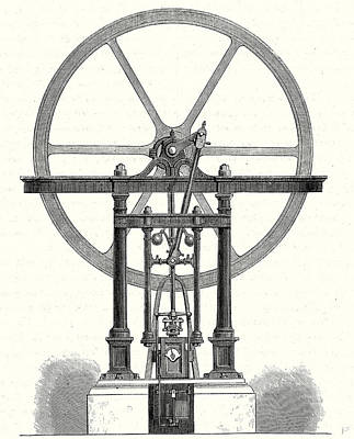 Cylinders Drawing - Steam Engine Without Condenser With A Vertical Cylinder by English School