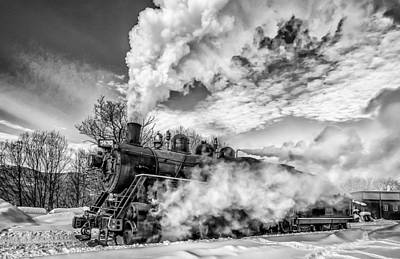 Steam In The Snow Black And White Version Art Print