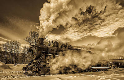 Steam In The Snow Art Print