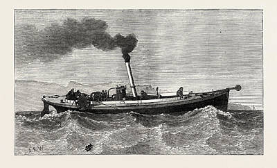 Antique Vessel Drawing - Steam-launch For The Cable-ship Faraday by English School