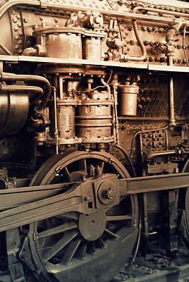 Rivets Photograph - Steam Locomotive Train Detail Sepia by Karyn Robinson