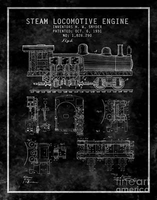 Patent Digital Art - Steam Locomotives Patent Lil Blk by Brian Lambert